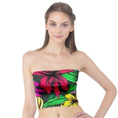 Neon Hibiscus Tube Top