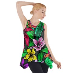 Neon Hibiscus Side Drop Tank Tunic