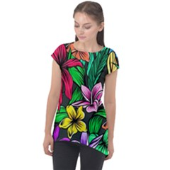 Neon Hibiscus Cap Sleeve High Low Top
