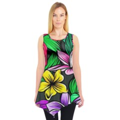 Neon Hibiscus Sleeveless Tunic