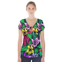 Neon Hibiscus Short Sleeve Front Detail Top