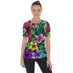 Neon Hibiscus Shoulder Cut Out Short Sleeve Top