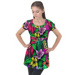 Neon Hibiscus Puff Sleeve Tunic Top
