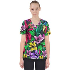 Neon Hibiscus Women s V-neck Scrub Top