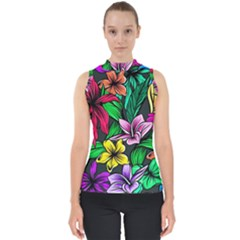 Neon Hibiscus Mock Neck Shell Top