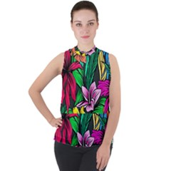 Neon Hibiscus Mock Neck Chiffon Sleeveless Top
