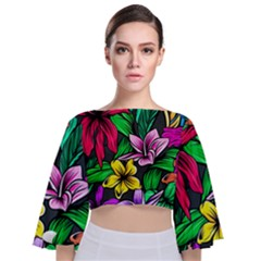 Neon Hibiscus Tie Back Butterfly Sleeve Chiffon Top