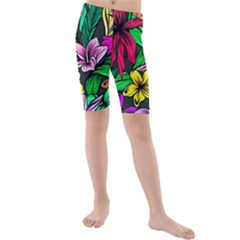 Neon Hibiscus Kids  Mid Length Swim Shorts