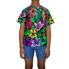 Neon Hibiscus Kids  Short Sleeve Swimwear