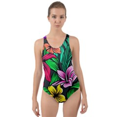 Neon Hibiscus Cut Out Back One Piece Swimsuit
