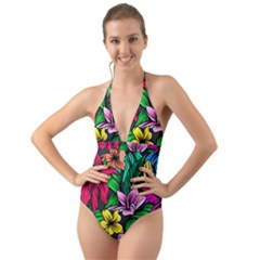 Neon Hibiscus Halter Cut Out One Piece Swimsuit
