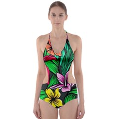 Neon Hibiscus Cut-out One Piece Swimsuit