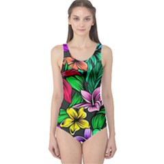 Neon Hibiscus One Piece Swimsuit