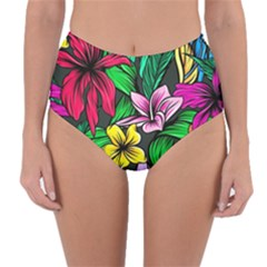 Neon Hibiscus Reversible High Waist Bikini Bottoms