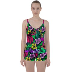 Neon Hibiscus Tie Front Two Piece Tankini