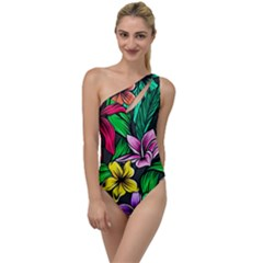Neon Hibiscus To One Side Swimsuit