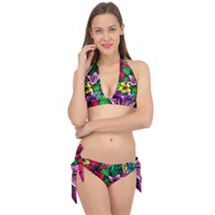 Neon Hibiscus Tie It Up Bikini Set