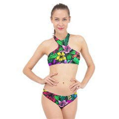 Neon Hibiscus High Neck Bikini Set