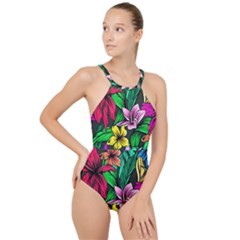 Neon Hibiscus High Neck One Piece Swimsuit