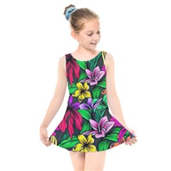 Neon Hibiscus Kids  Skater Dress Swimsuit