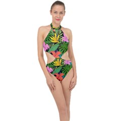 Tropical Adventure Halter Side Cut Swimsuit