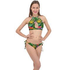 Tropical Adventure Cross Front Halter Bikini Set