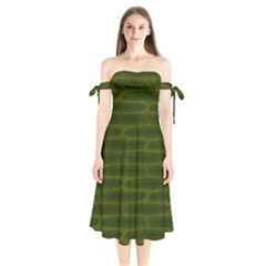 Seaweed Green Shoulder Tie Bardot Midi Dress by WensdaiAddamns