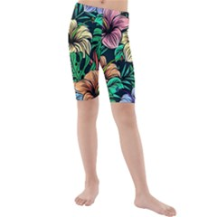 Hibiscus Dream Kids  Mid Length Swim Shorts