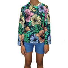 Hibiscus Dream Kids  Long Sleeve Swimwear