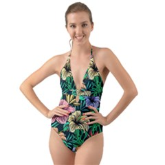 Hibiscus Dream Halter Cut Out One Piece Swimsuit