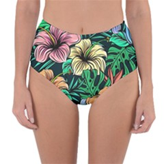 Hibiscus Dream Reversible High-waist Bikini Bottoms