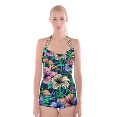 Hibiscus Dream Boyleg Halter Swimsuit