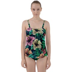 Hibiscus Dream Twist Front Tankini Set