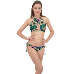 Hibiscus Dream Cross Front Halter Bikini Set