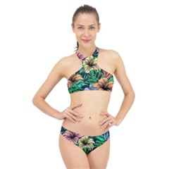 Hibiscus Dream High Neck Bikini Set
