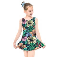 Hibiscus Dream Kids  Skater Dress Swimsuit