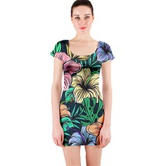 Hibiscus Dream Short Sleeve Bodycon Dress