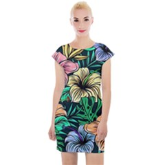 Hibiscus Dream Cap Sleeve Bodycon Dress