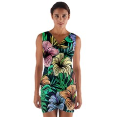 Hibiscus Dream Wrap Front Bodycon Dress