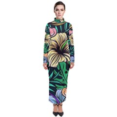 Hibiscus Dream Turtleneck Maxi Dress