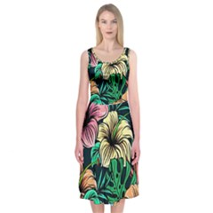 Hibiscus Dream Midi Sleeveless Dress