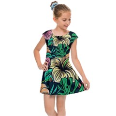 Hibiscus Dream Kids  Cap Sleeve Dress