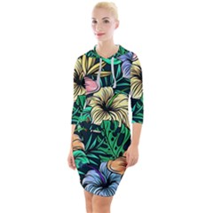 Hibiscus Dream Quarter Sleeve Hood Bodycon Dress