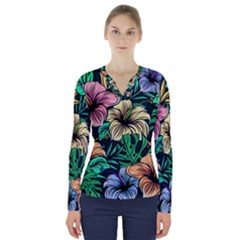 Hibiscus Dream V Neck Long Sleeve Top