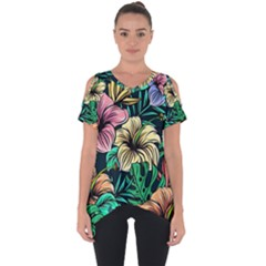 Hibiscus Dream Cut Out Side Drop Tee