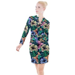 Hibiscus Dream Button Long Sleeve Dress
