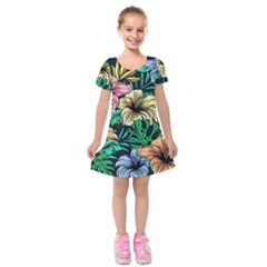 Hibiscus Dream Kids  Short Sleeve Velvet Dress