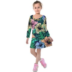 Hibiscus Dream Kids  Long Sleeve Velvet Dress