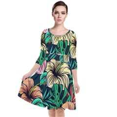Hibiscus Dream Quarter Sleeve Waist Band Dress