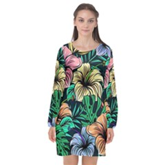 Hibiscus Dream Long Sleeve Chiffon Shift Dress